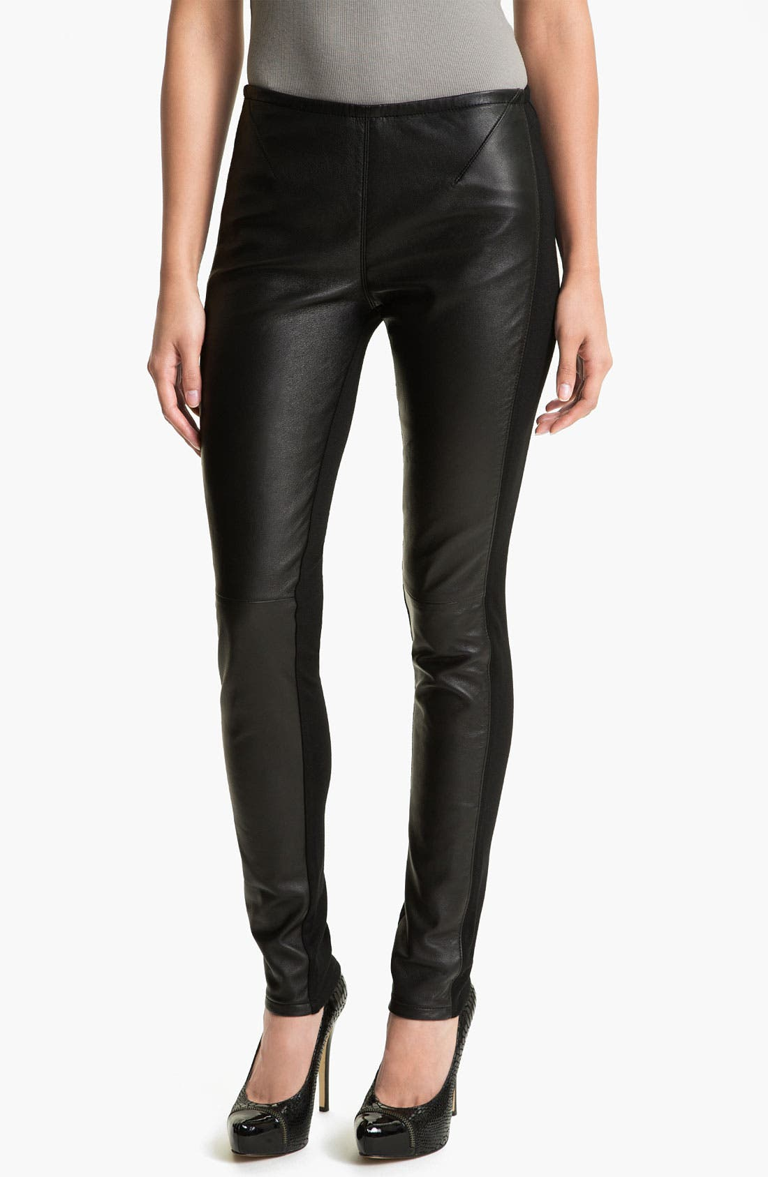 Alternate Image 1 Selected - Two by Vince Camuto Faux Leather & Knit Leggings (Petite)