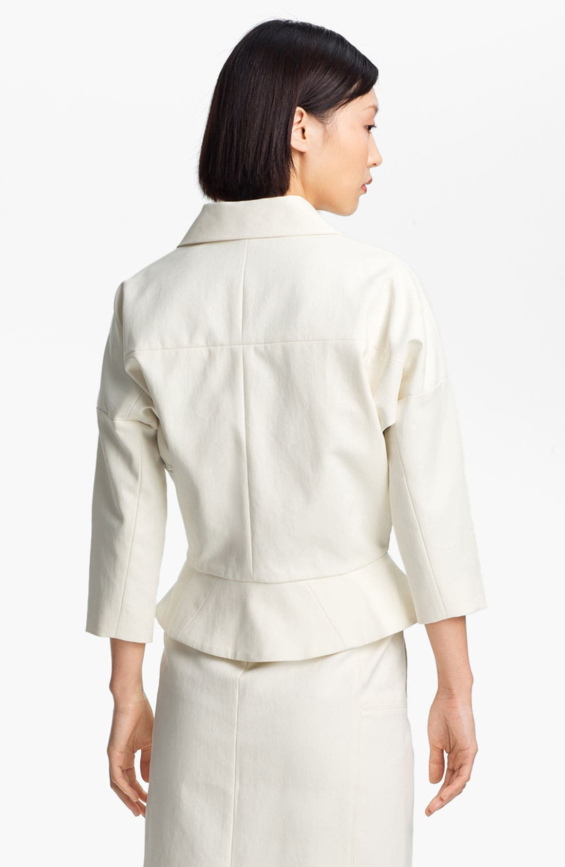 Alternate Image 3  - Halston Heritage Leather Detail Cotton Jacket