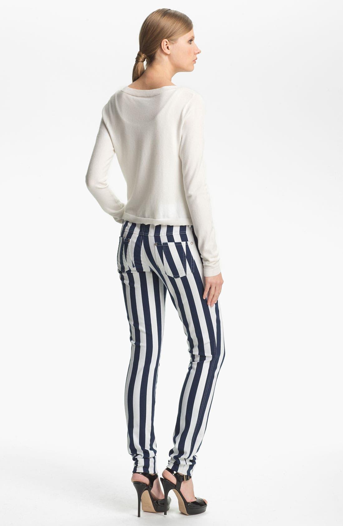 Alternate Image 3  - Alice + Olivia Stripe Skinny Jeans