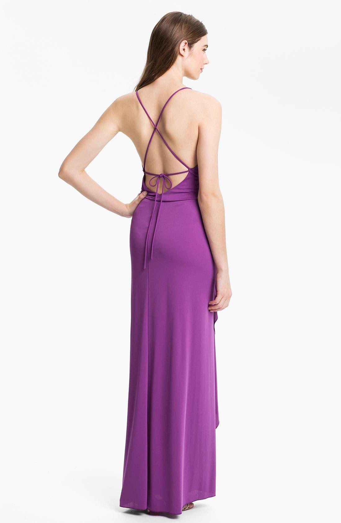 Alternate Image 2  - BCBGMAXAZRIA Crisscross Back Jersey Gown