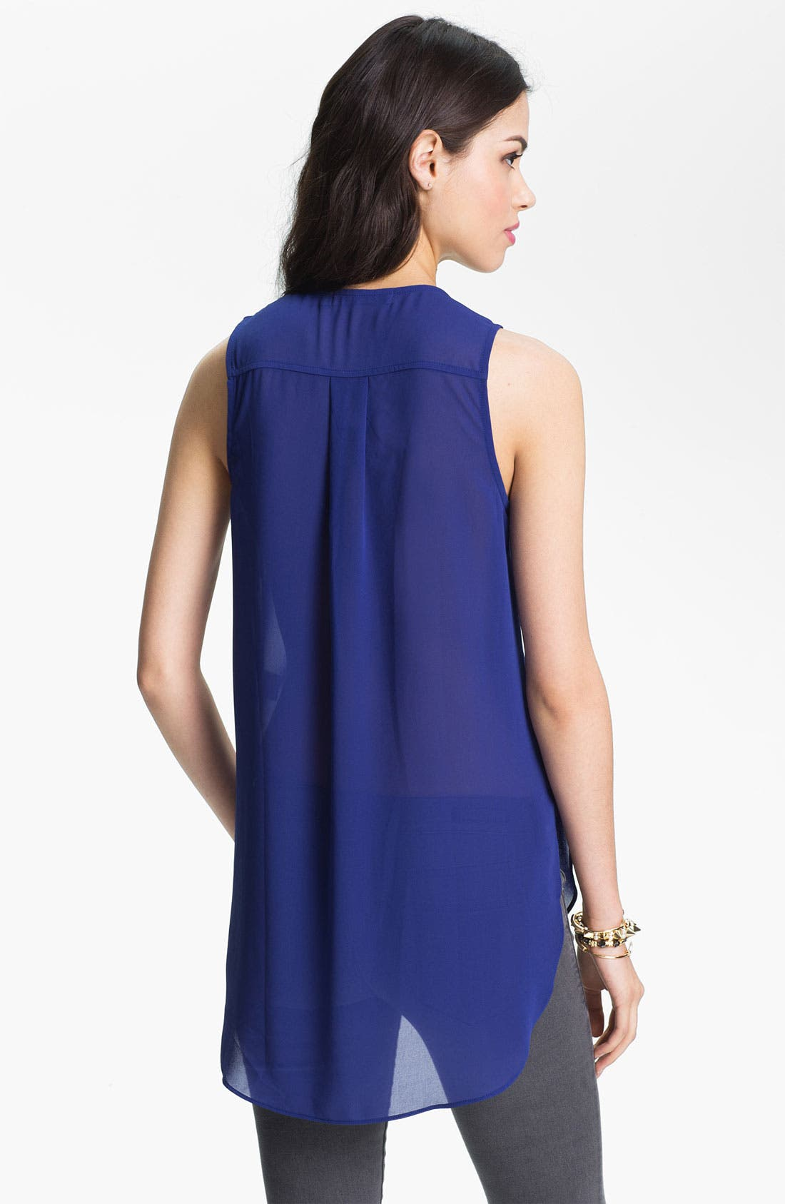 Alternate Image 2  - Chloe K Studded Bib Chiffon Tank (Juniors)