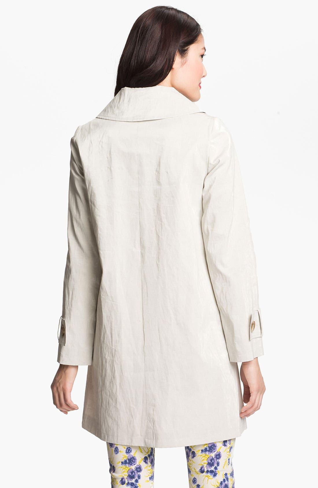 Alternate Image 2  - Helene Berman 'Mod' Coated Linen Blend Coat