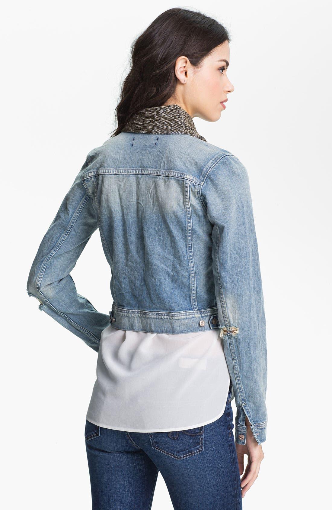 Alternate Image 2  - Maison Scotch 'Etoile' Embellished Collar Denim Jacket