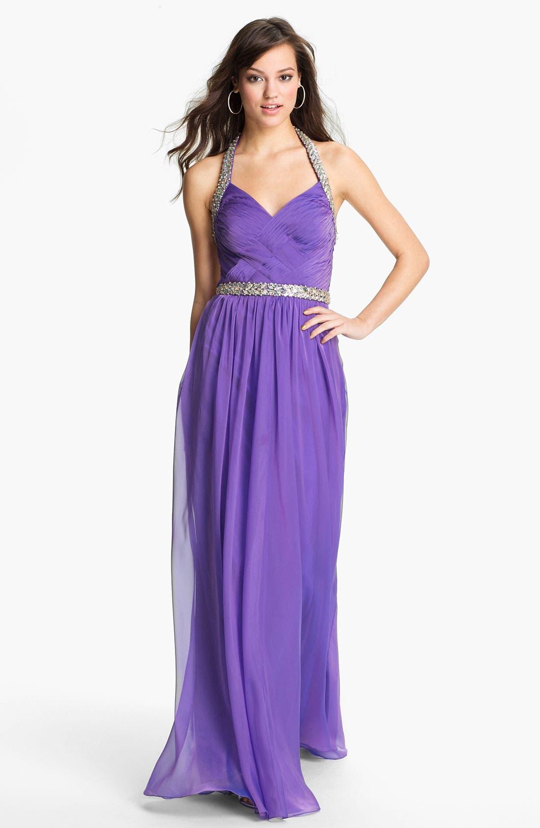Main Image - La Femme Embellished Silk Chiffon Halter Gown