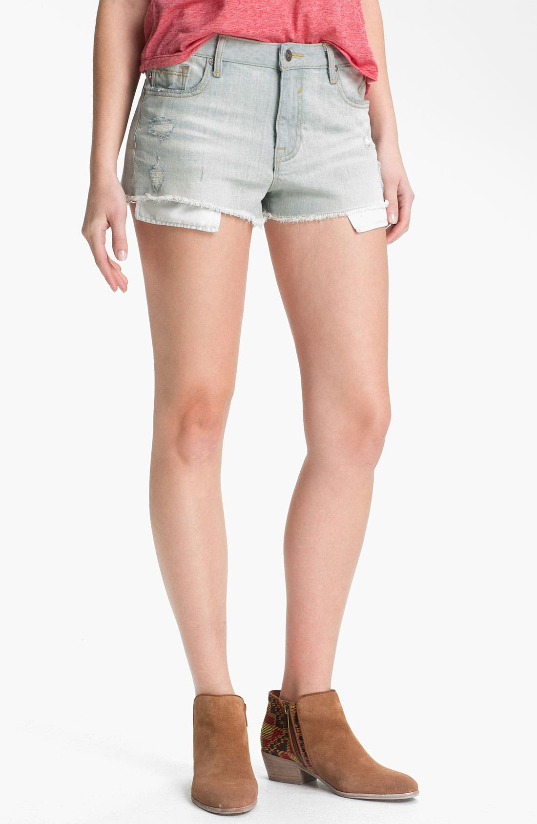 Main Image - Vigoss Distressed High-Waist Cutoff Denim Shorts (Juniors)