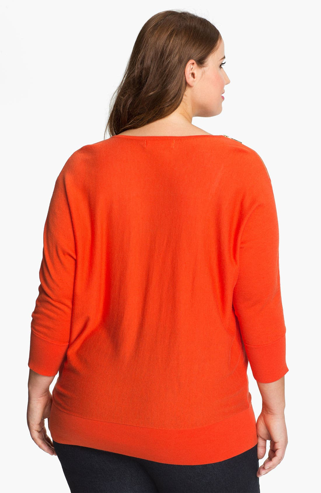 Alternate Image 2  - MICHAEL Michael Kors Zip Shoulder Sweater (Plus)