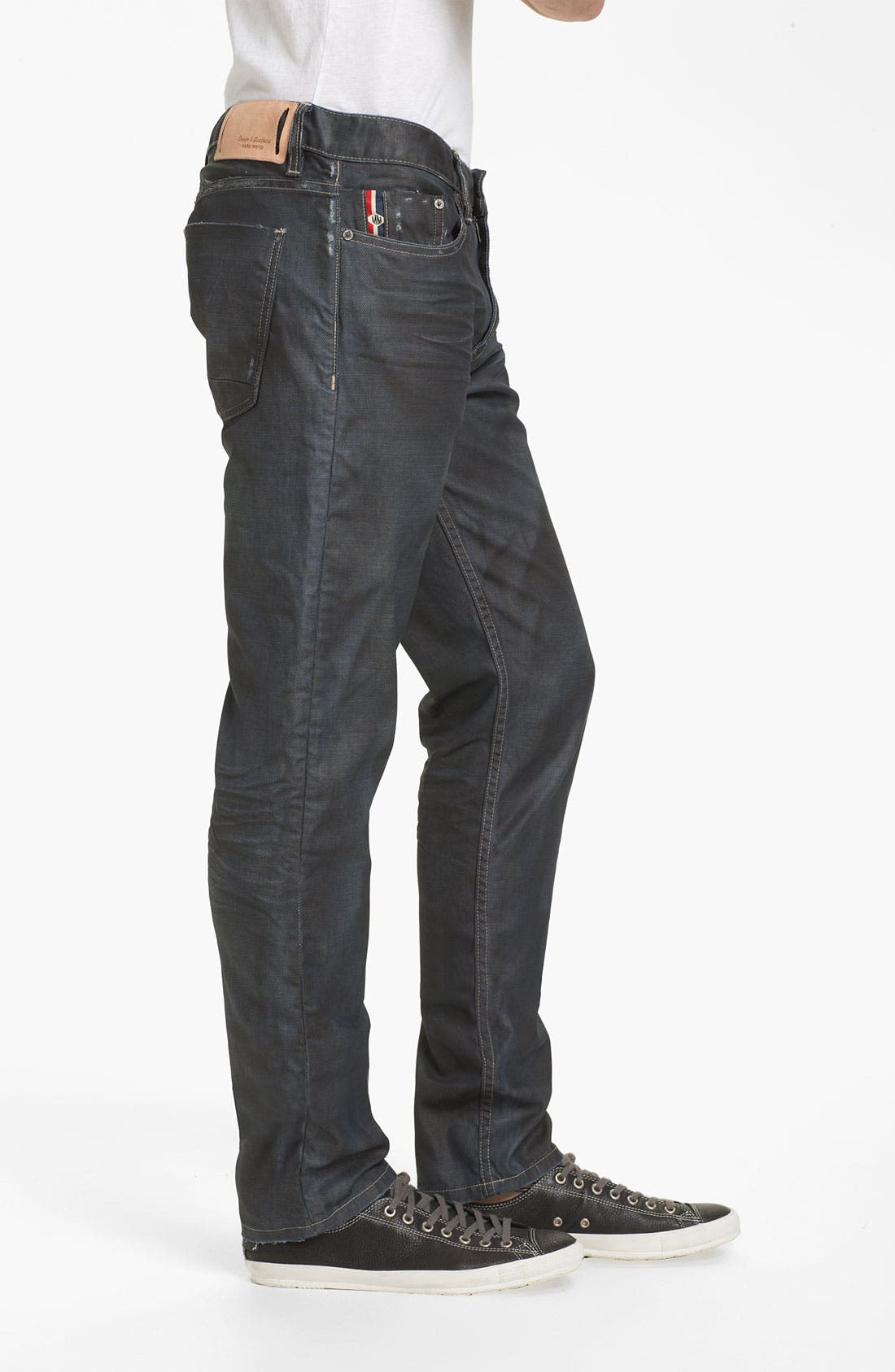 Alternate Image 3  - Denim & Leathers by Andrew Marc Corroded Slim Straight Leg Jeans (Indigo)