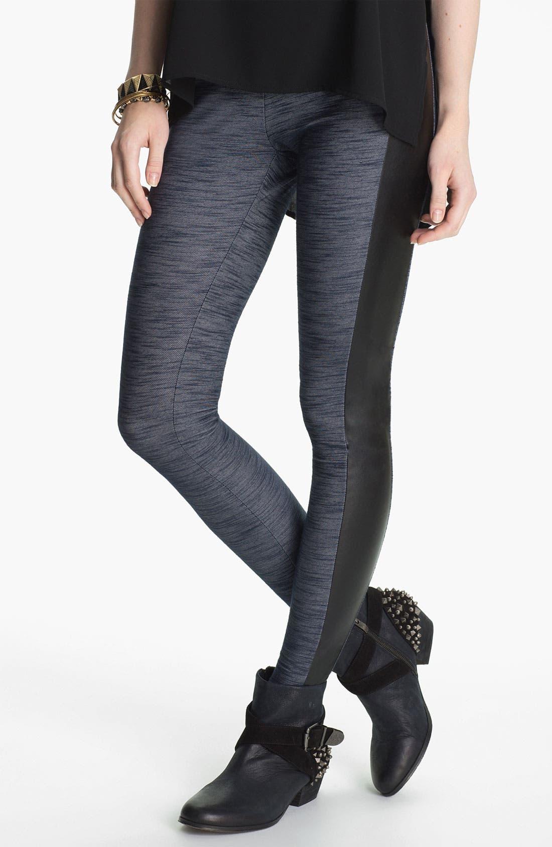 Main Image - Lush Faux Leather Trim Tux Leggings (Juniors)