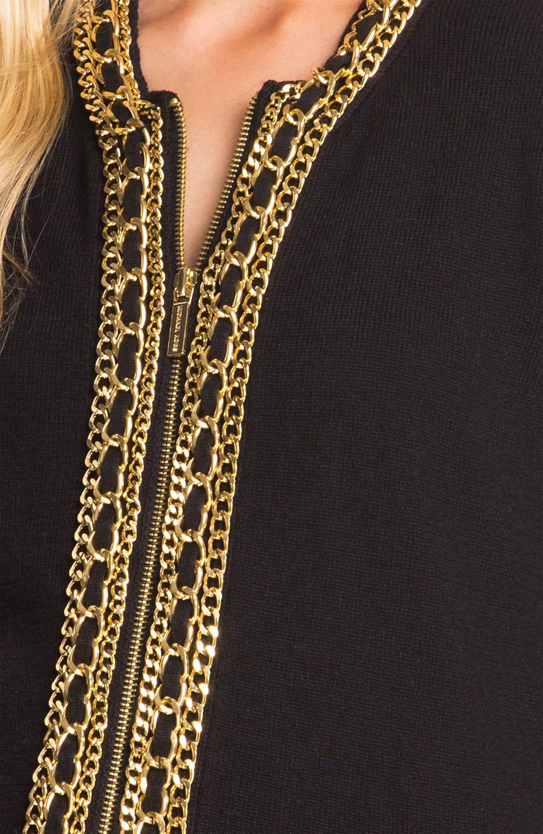 Alternate Image 3  - MICHAEL Michael Kors Chain Placket Cardigan (Petite)