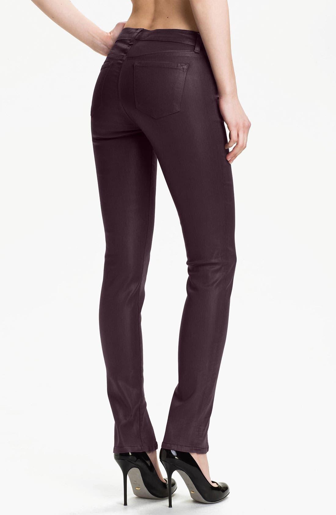 Alternate Image 2  - J Brand 'Vera' Slit Hem Skinny Jeans (Coated Dark)