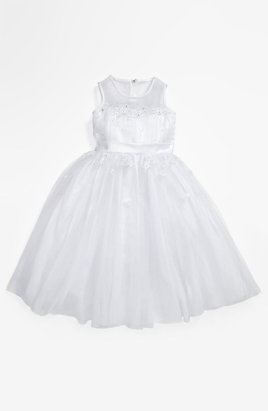 Alternate Image 1 Selected - Lauren Marie Illusion Top Gown (Little Girls & Big Girls)