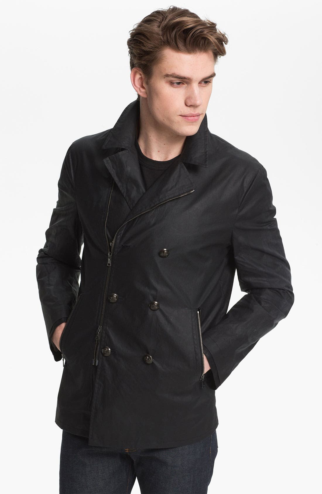 Main Image - John Varvatos Collection Coated Cotton Peacoat