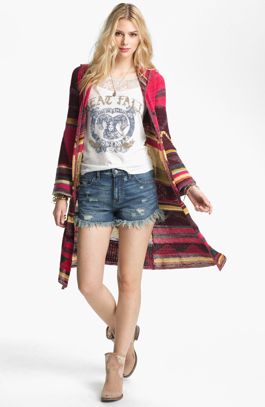 Alternate Image 1 Selected - Free People 'Lima' Blanket Knit Hooded Cardigan