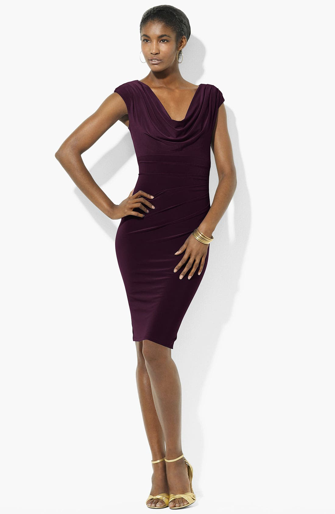Alternate Image 1 Selected - Lauren Ralph Lauren Cowl Neck Jersey Sheath Dress