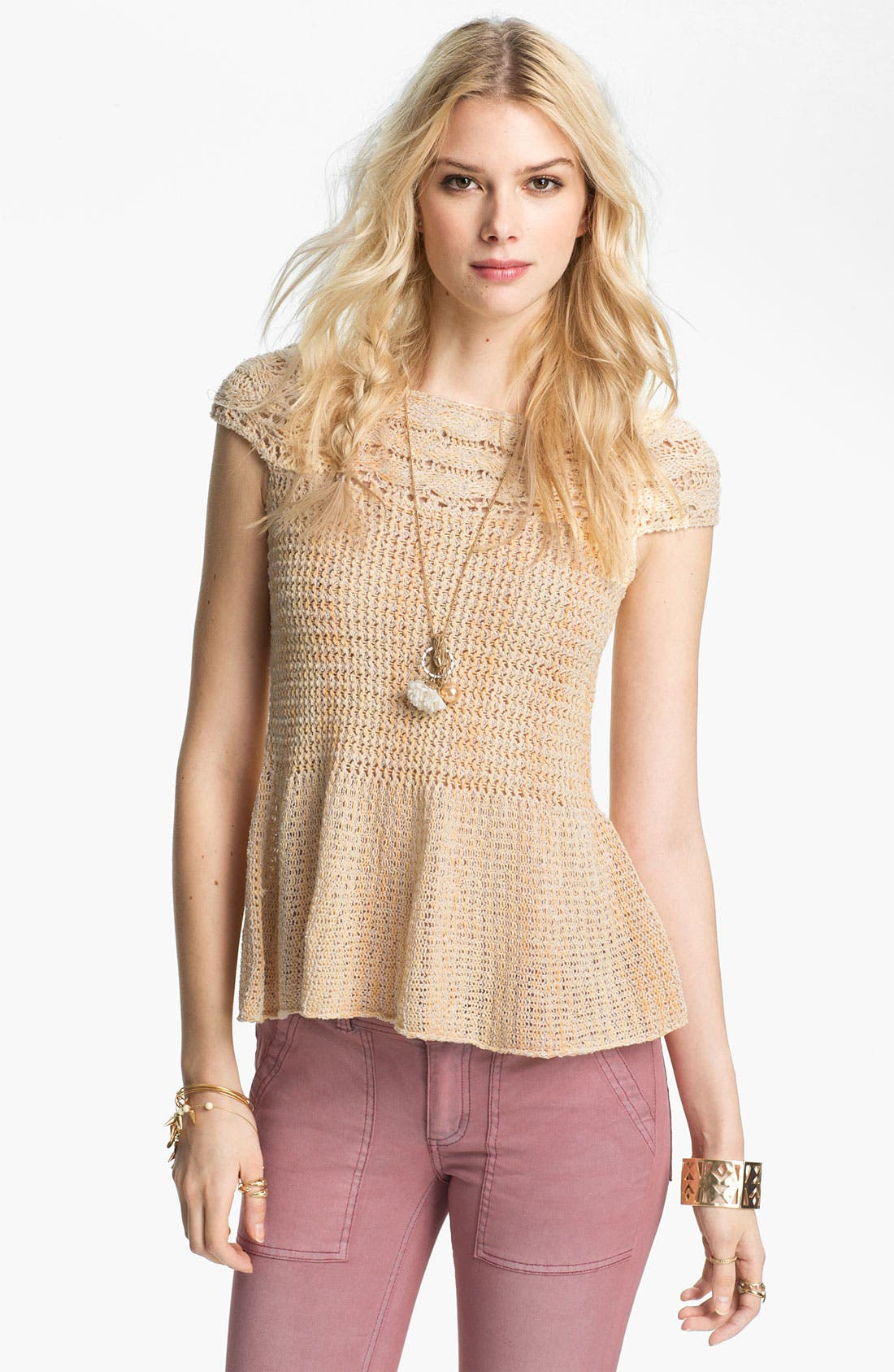 Main Image - Free People 'Lollipop' Crochet Peplum Top