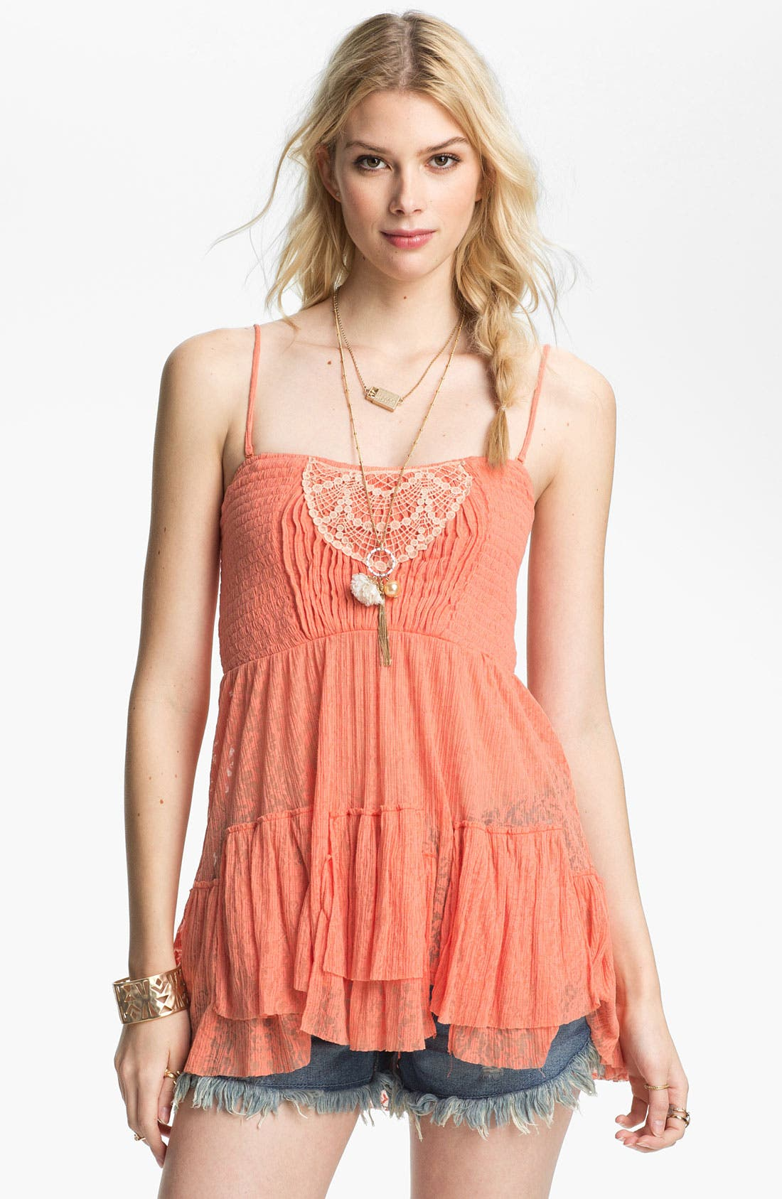 Alternate Image 1 Selected - Free People Smocked Babydoll Camisole