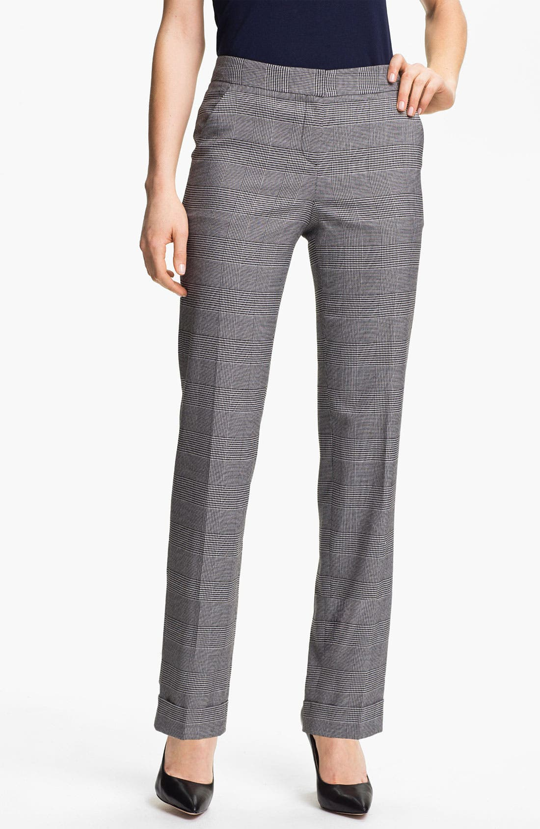 Main Image - Anne Klein Cuffed Glen Plaid Pants (Petite)