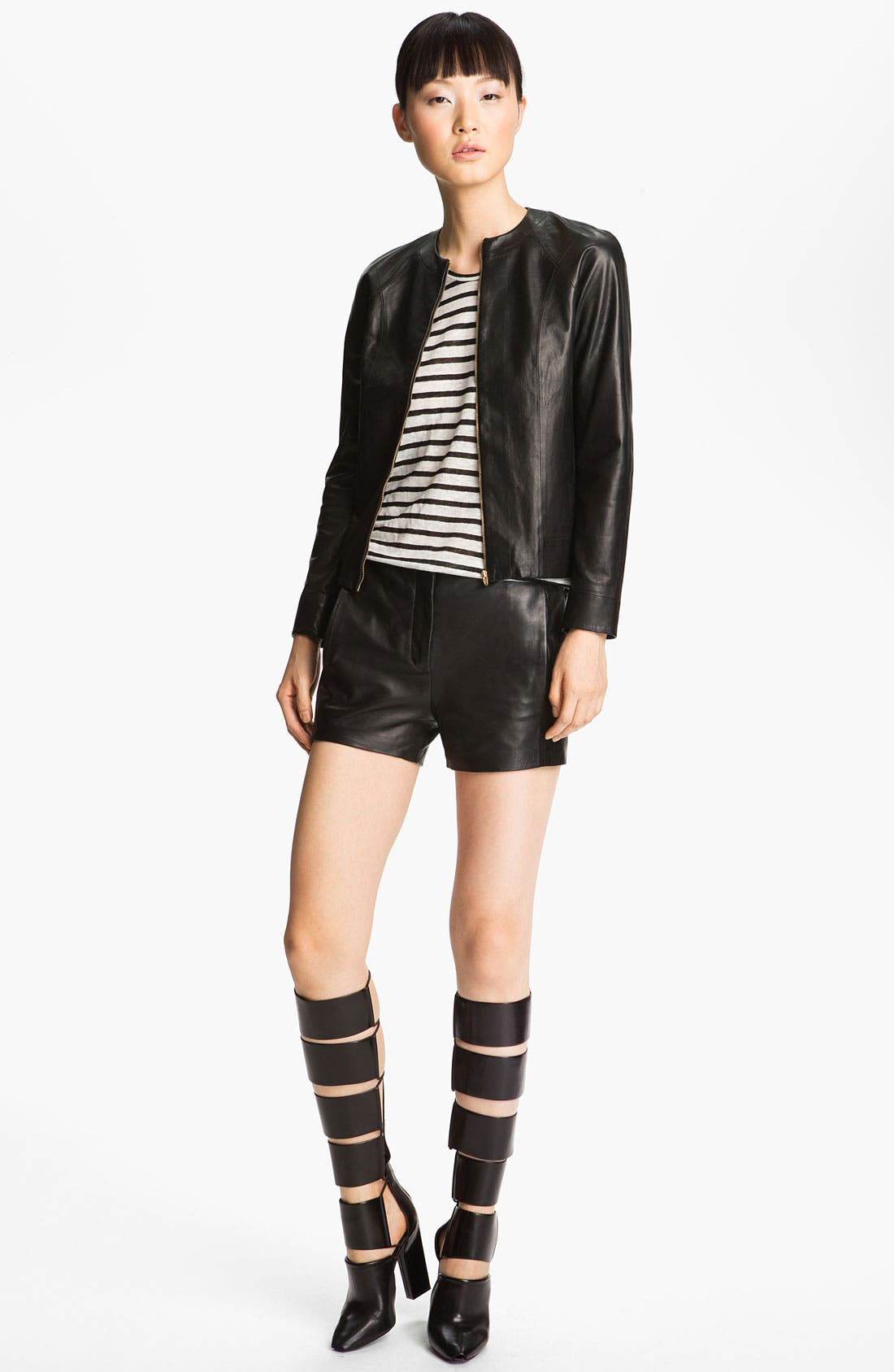 Alternate Image 1 Selected - T by Alexander Wang Fitted Leather Jacket