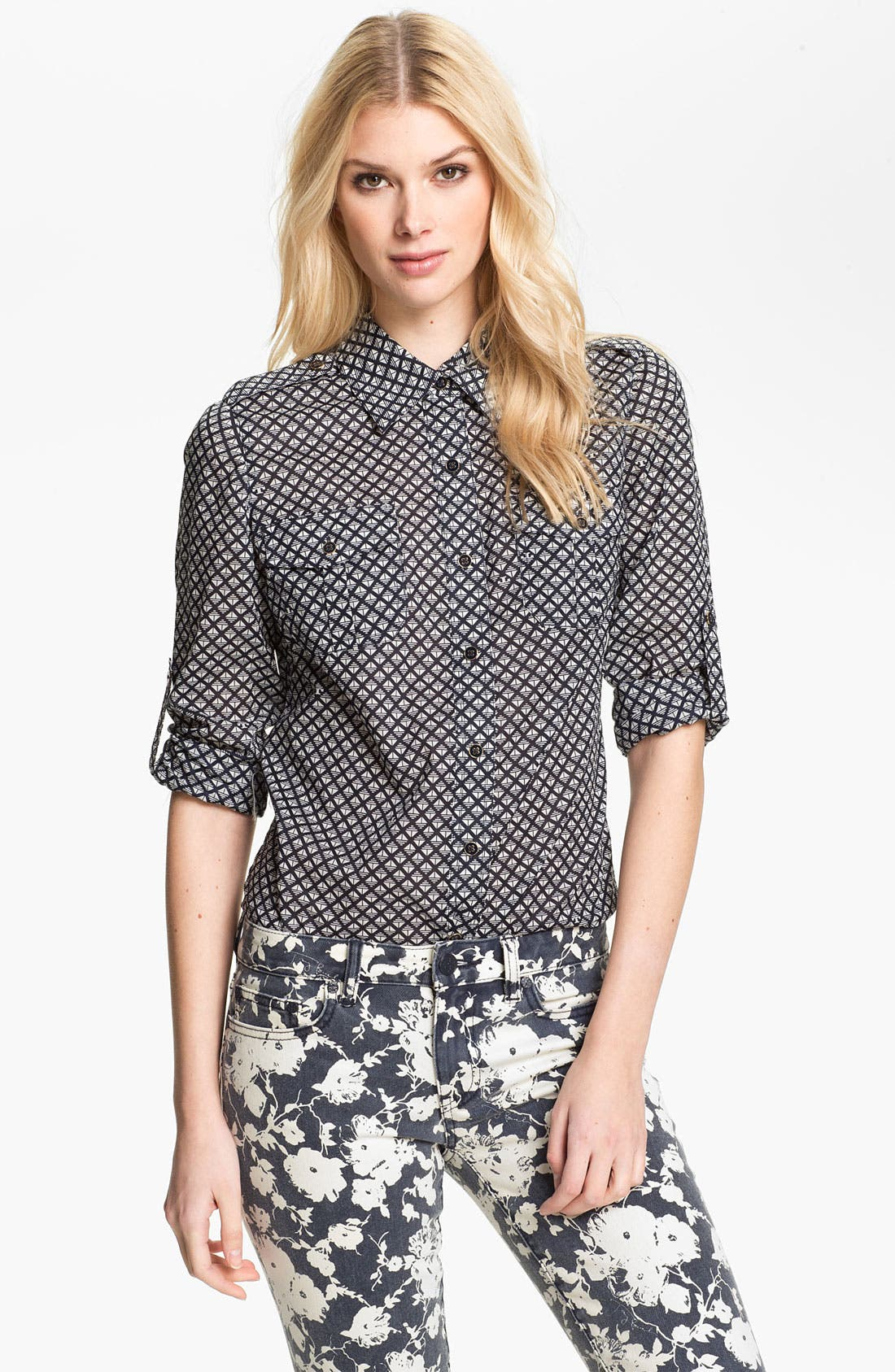 Alternate Image 1 Selected - Tory Burch 'Brigitte' Print Military Shirt