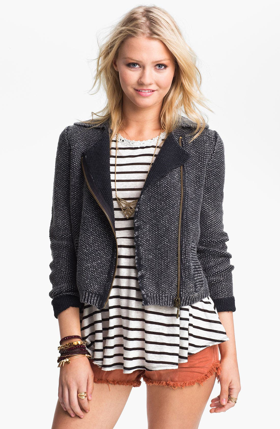 Main Image - Free People 'Warm & Cool' Sweater Knit Moto Jacket