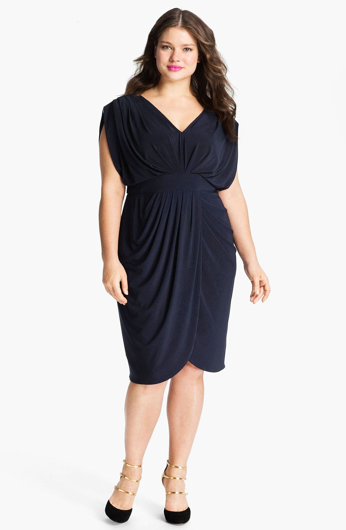 Main Image - Suzi Chin for Maggy Boutique V-Neck Faux Wrap Jersey Dress (Plus Size)