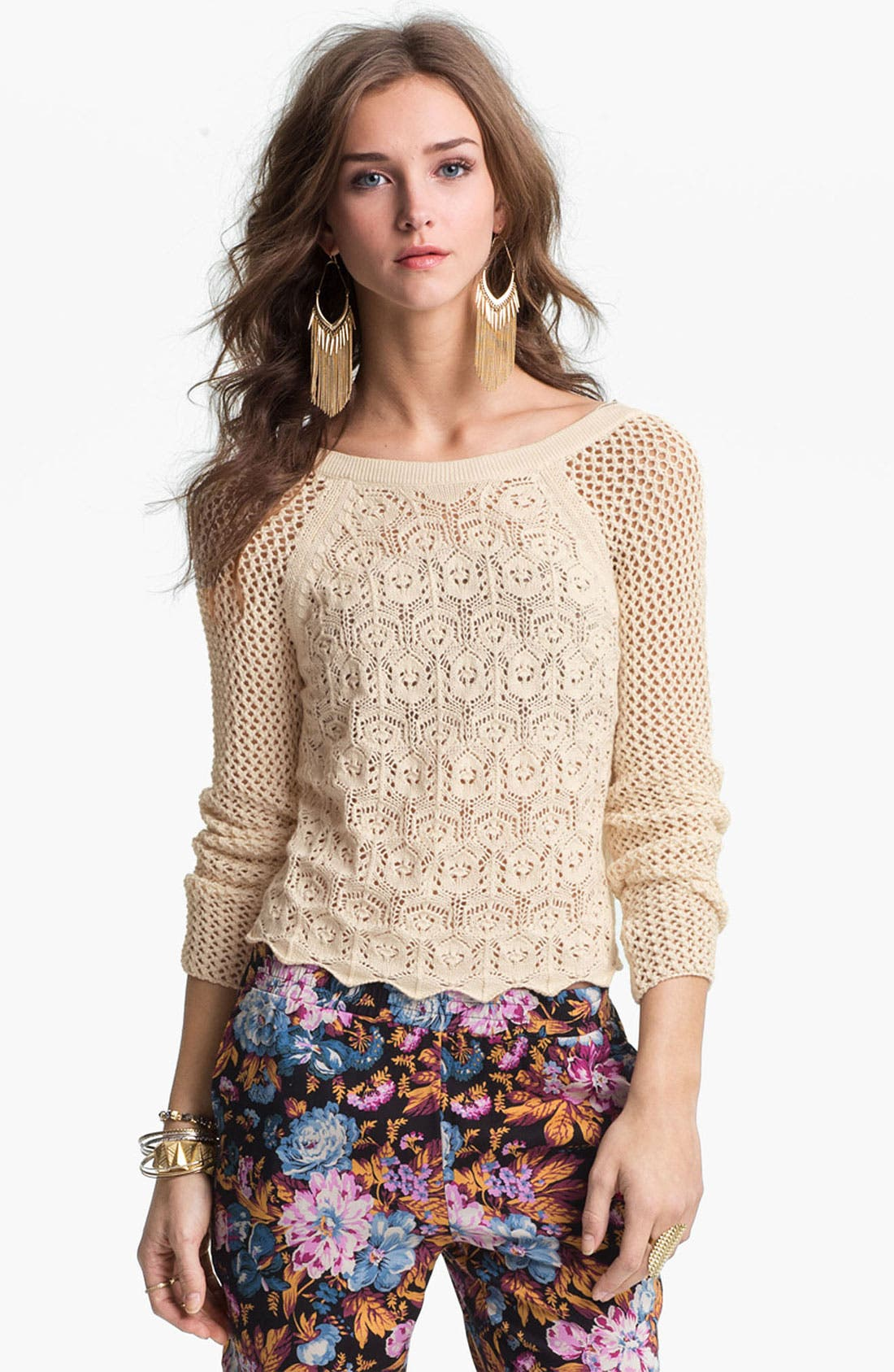 Alternate Image 1 Selected - Frenchi® Mix Knit Crochet Sweater (Juniors)