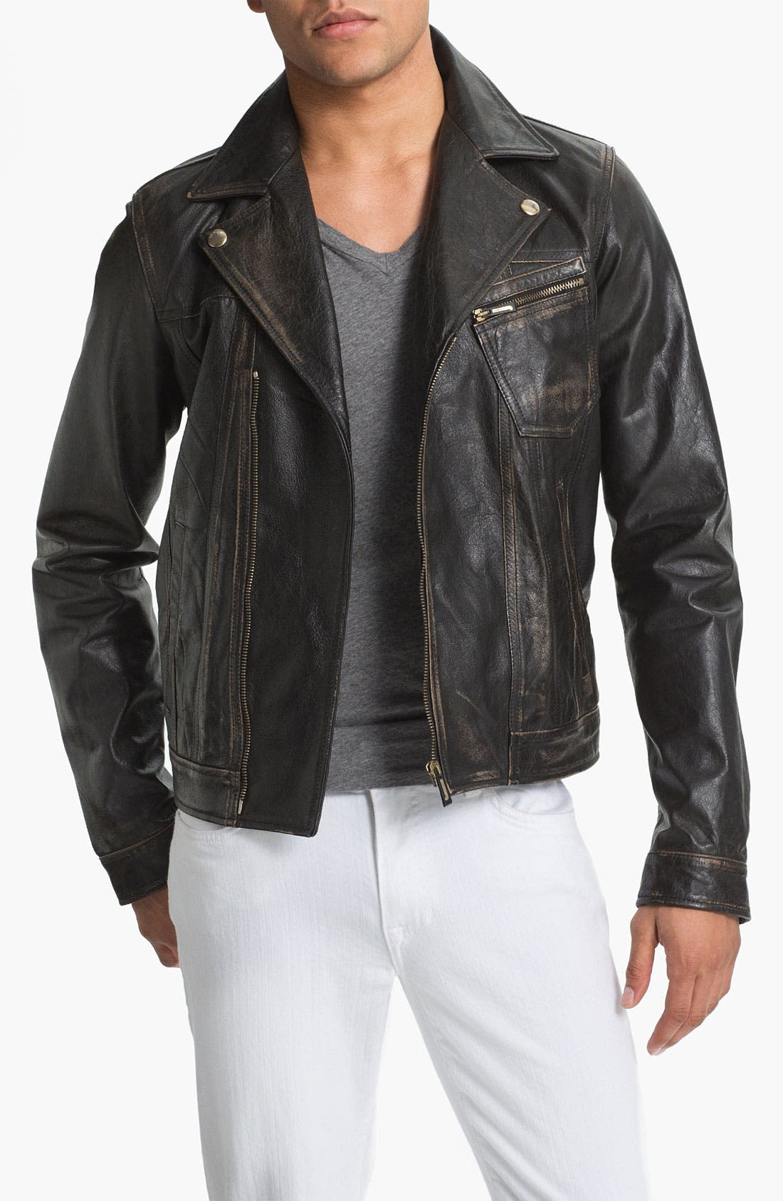 Alternate Image 1 Selected - Just Cavalli Leather Moto Jacket