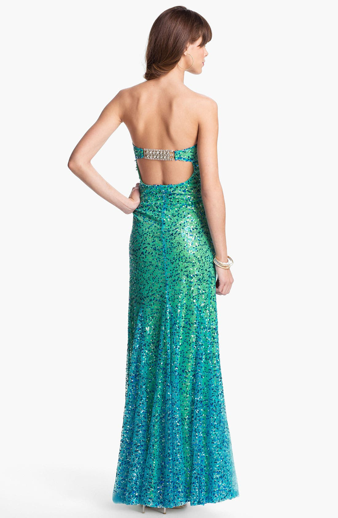 Alternate Image 2  - As U Wish Strapless Sequin Ombré Mermaid Gown (Juniors)