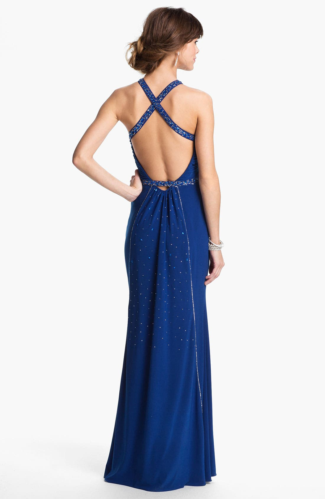 Alternate Image 2  - Hailey Logan Embellished Harness Gown (Juniors) (Online Only)