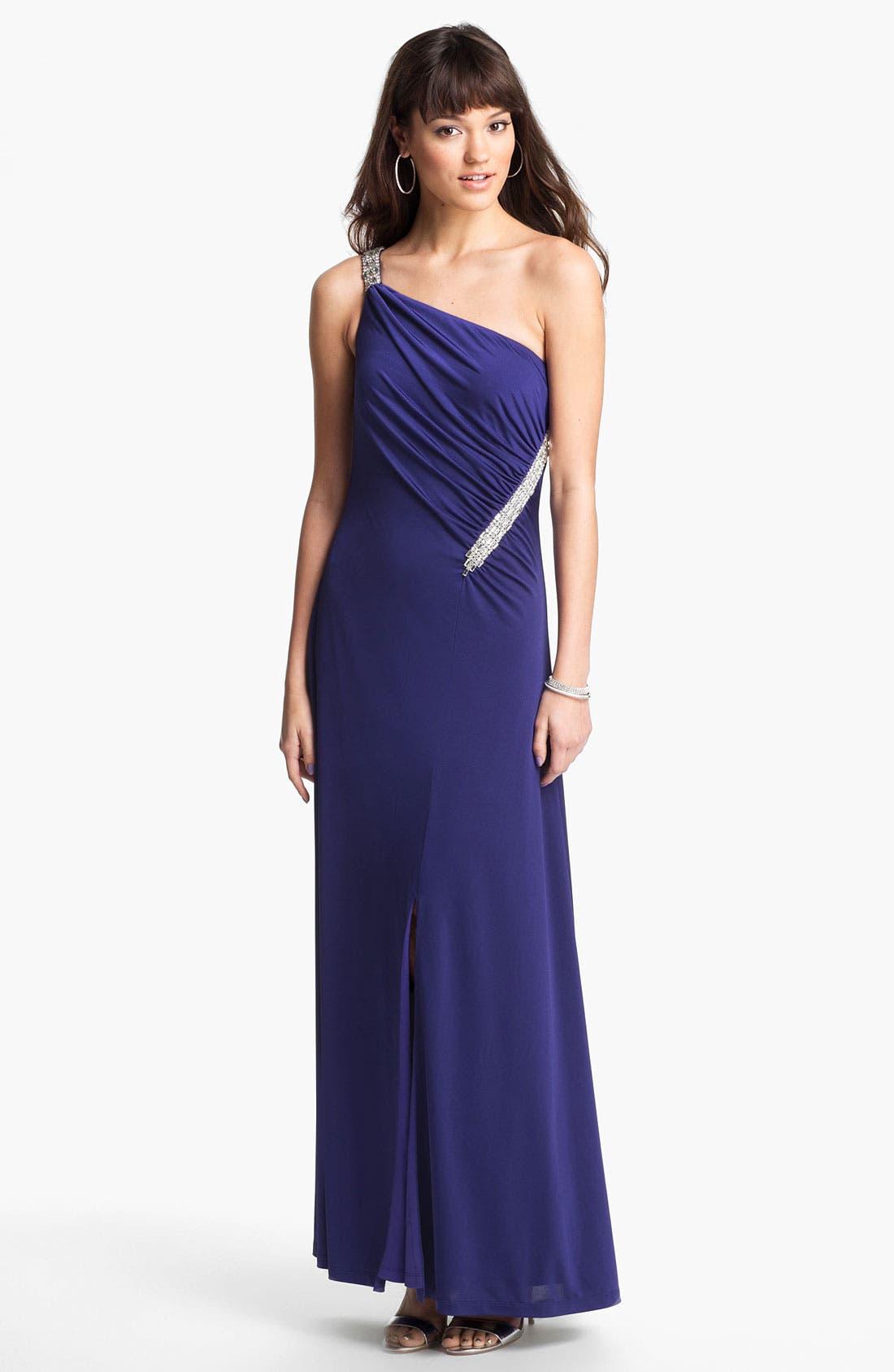 Alternate Image 1 Selected - Calvin Klein Embellished One Shoulder Gown