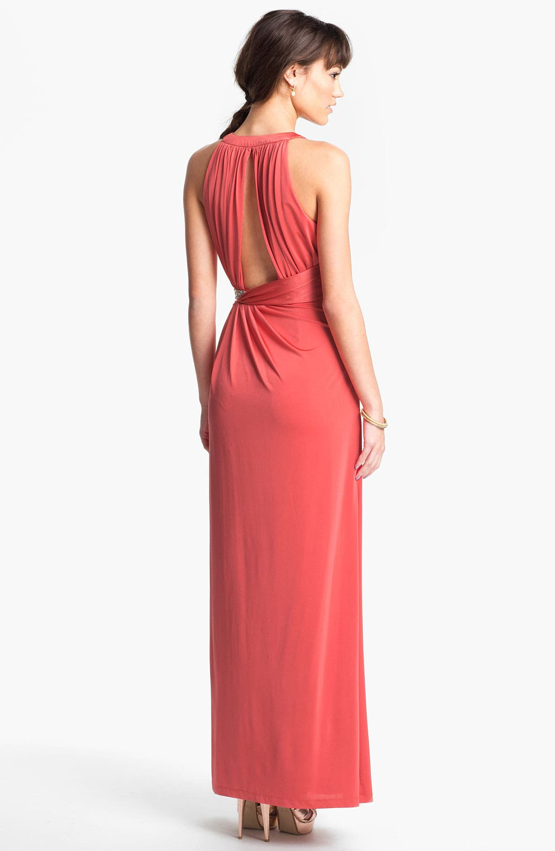 Alternate Image 2  - Calvin Klein Embellished V-Neck Draped Jersey Gown
