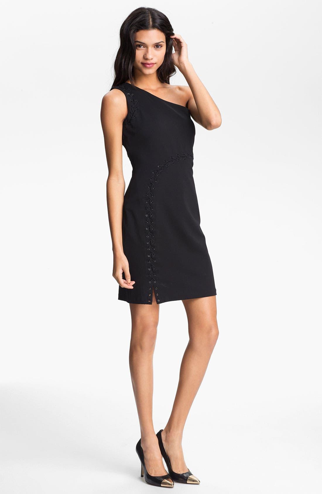 Alternate Image 1 Selected - Halston Heritage One Shoulder Sheath Dress