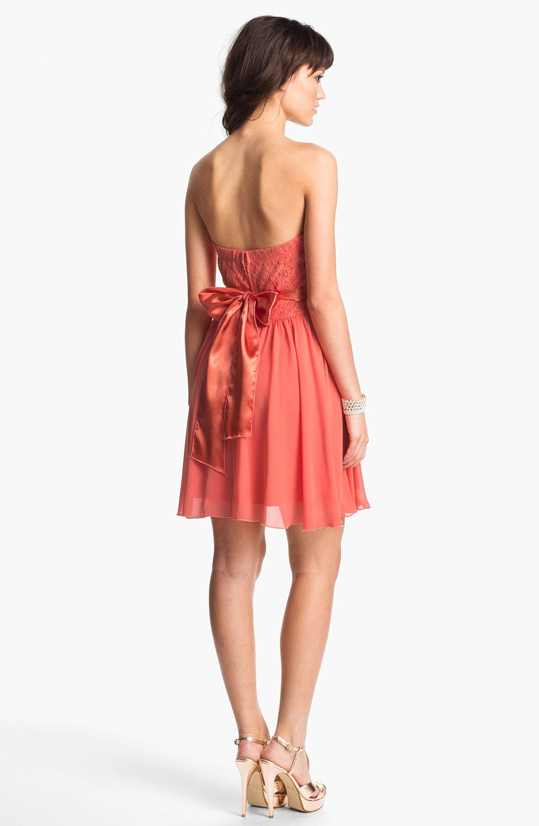 Alternate Image 2  - Trixxi Lace & Chiffon Strapless Party Dress (Juniors)
