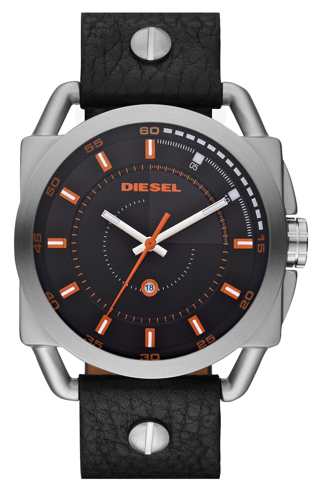 Alternate Image 1 Selected - DIESEL® 'Descender' Leather Strap Watch, 50mm