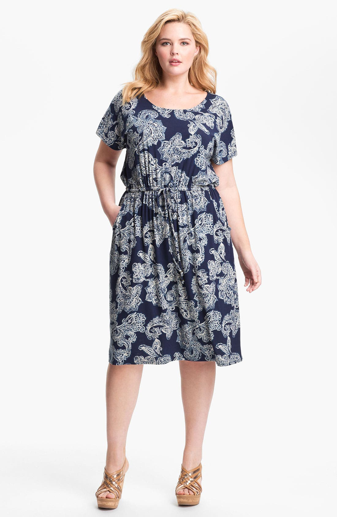 Alternate Image 1 Selected - Lucky Brand Paisley Dress (Plus Size)
