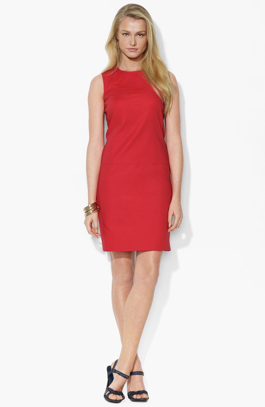 Alternate Image 1 Selected - Lauren Ralph Lauren Crewneck Shift Dress (Petite) (Online Only)