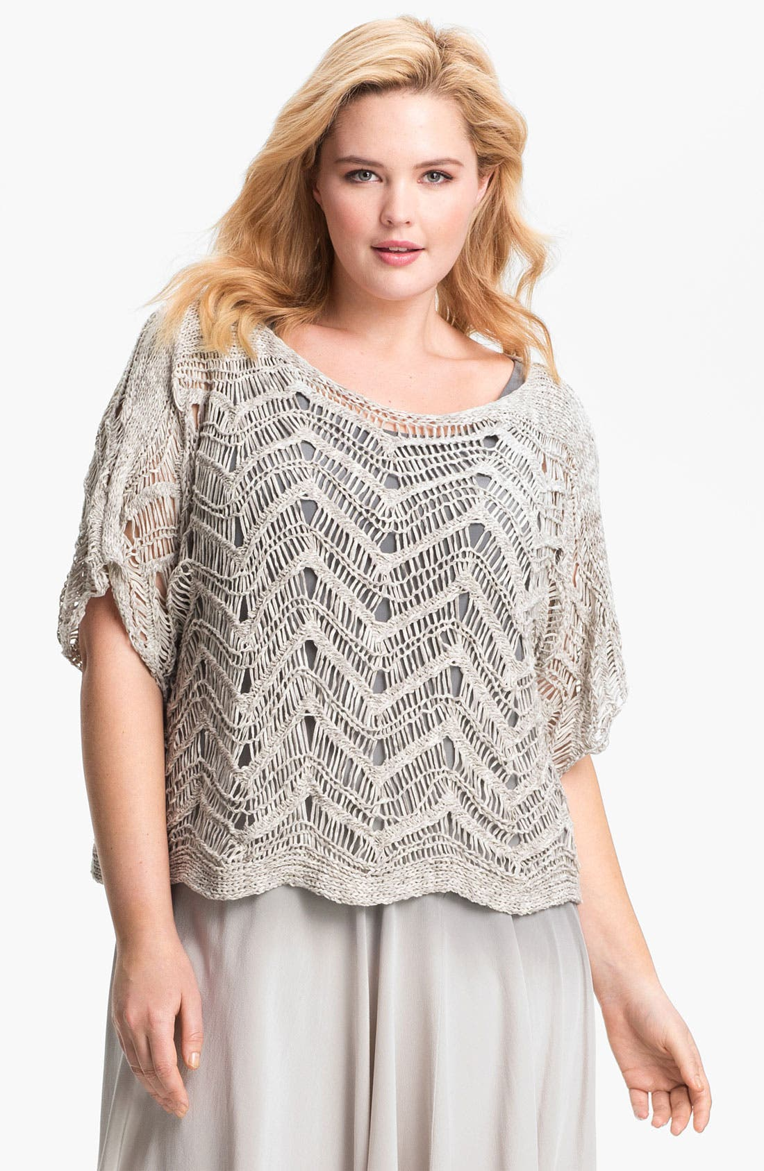 Alternate Image 1 Selected - Eileen Fisher Open Stitch Pullover Sweater (Plus Size)