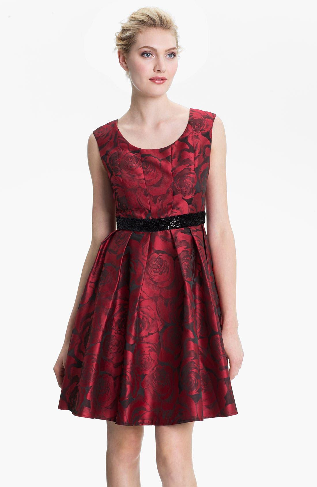Main Image - Donna Ricco Print Satin Party Dress (Petite)