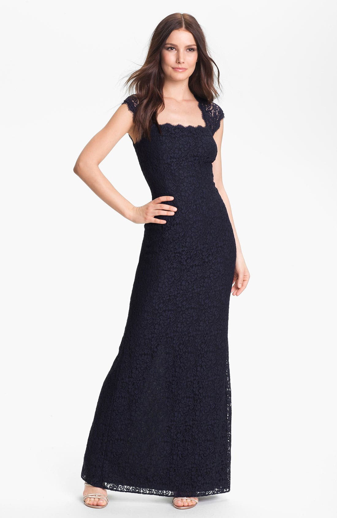 Main Image - Adrianna Papell Back Cutout Lace Gown