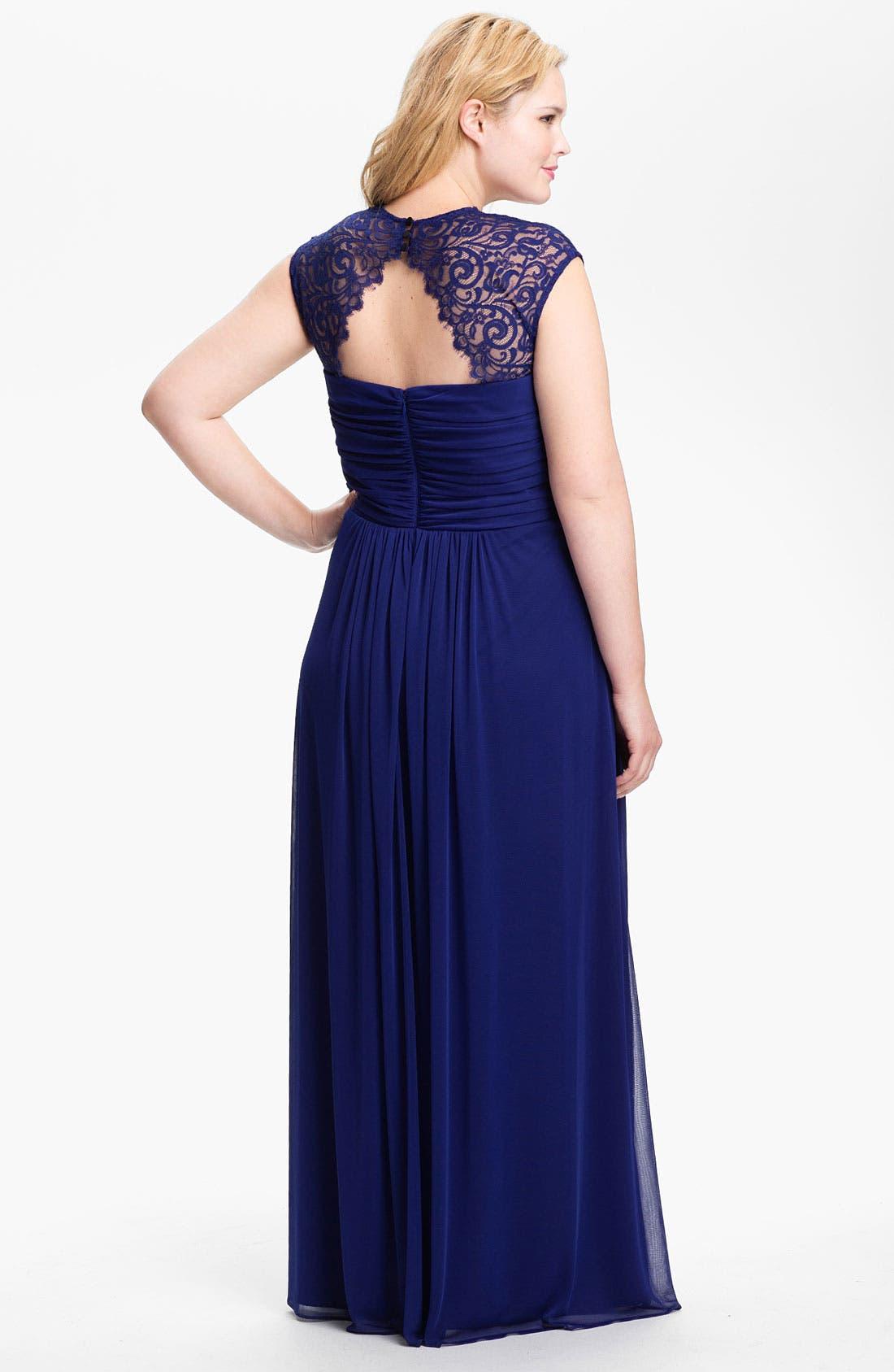 Alternate Image 2  - Xscape Lace Cap Sleeve Mesh Gown (Plus)