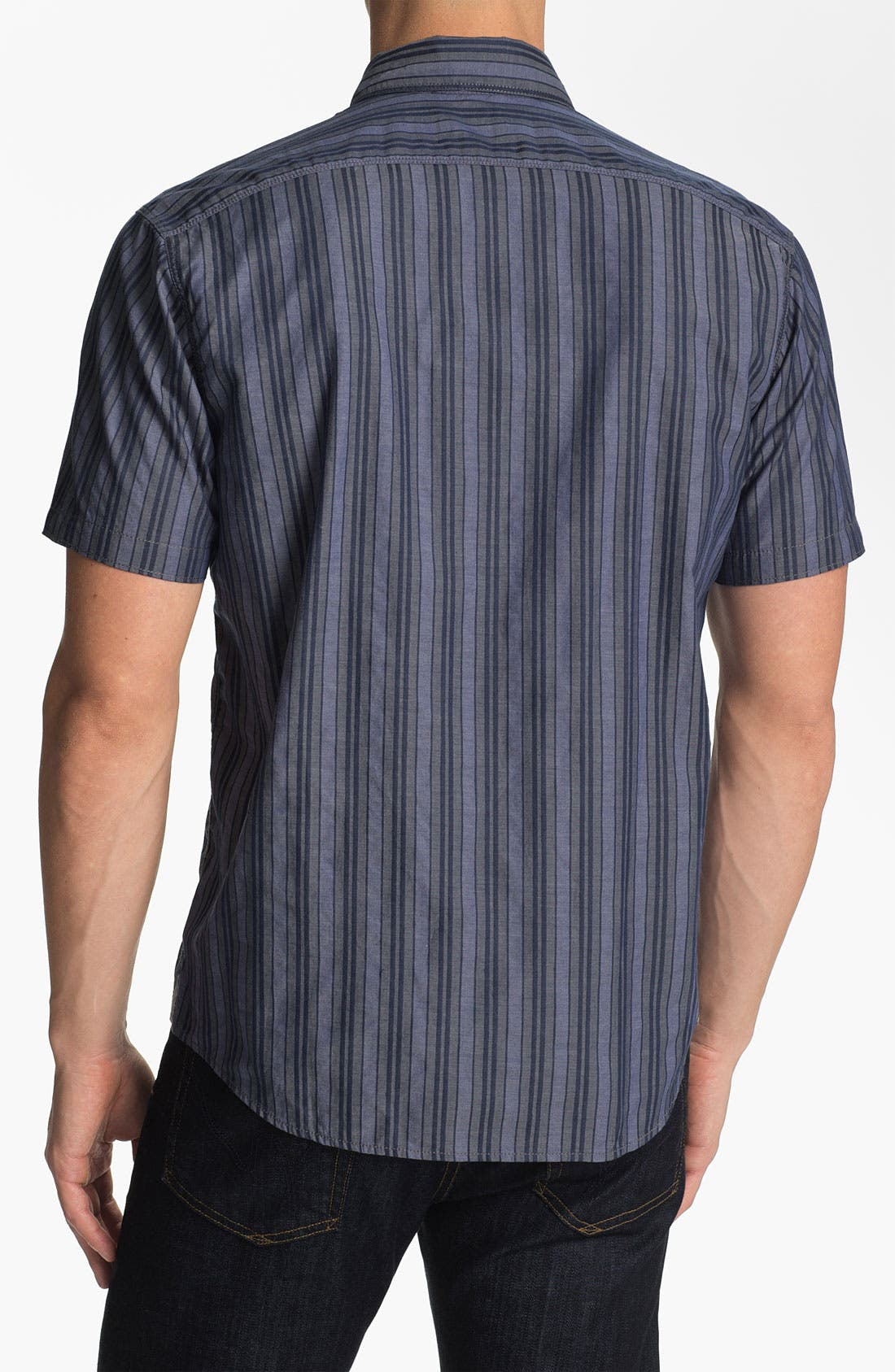 Alternate Image 2  - Cutter & Buck 'Meyer Stripe' Regular Fit Sport Shirt (Big & Tall)