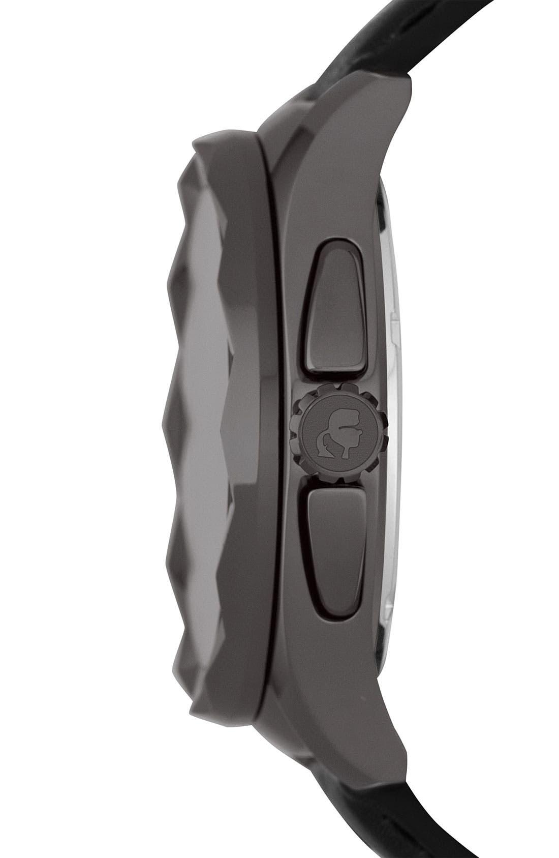 Alternate Image 2  - KARL LAGERFELD '7' Beveled Bezel Leather Watch, 43mm