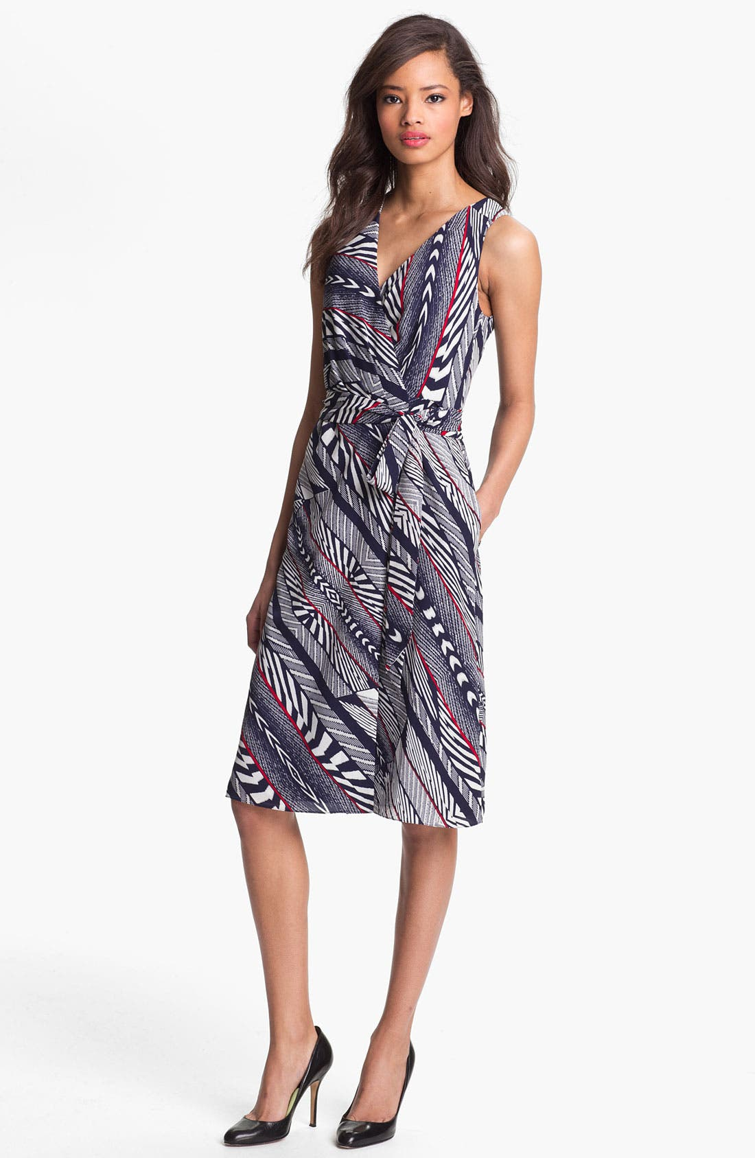 Main Image - Anne Klein Bias Stripe Wrap Dress (Petite)