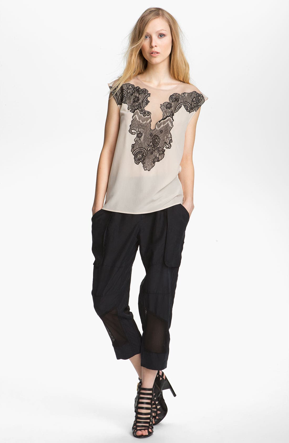 Alternate Image 2  - Edun Mesh Trim Silk Cargo Pants