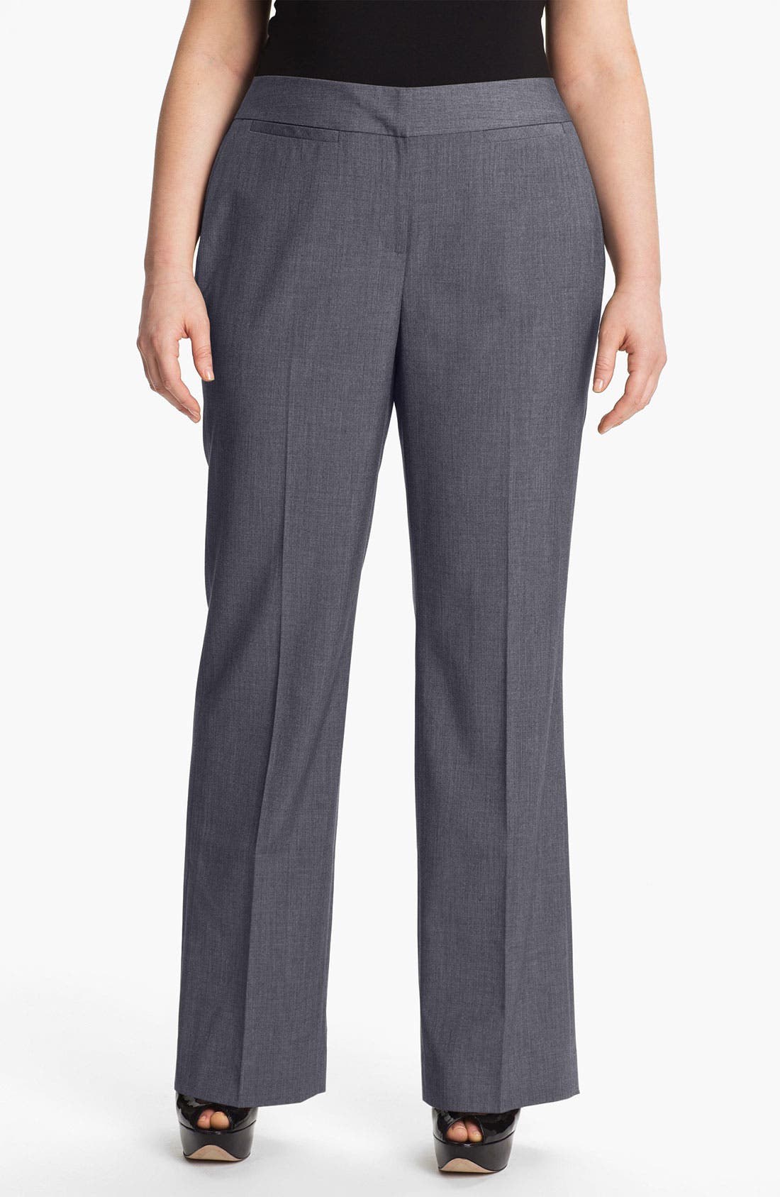 Alternate Image 1 Selected - Sejour 'Laurel' Twill Suit Trousers (Plus Size)