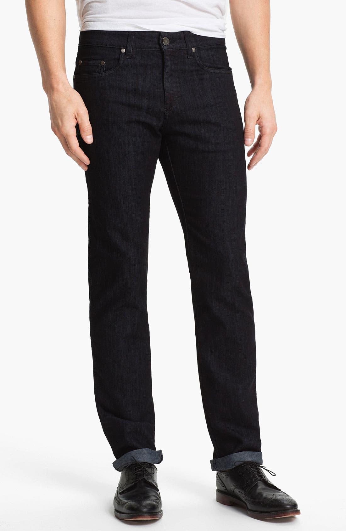 Alternate Image 1 Selected - Z Zegna 'Metalized Effect' Straight Leg Jeans (Black)