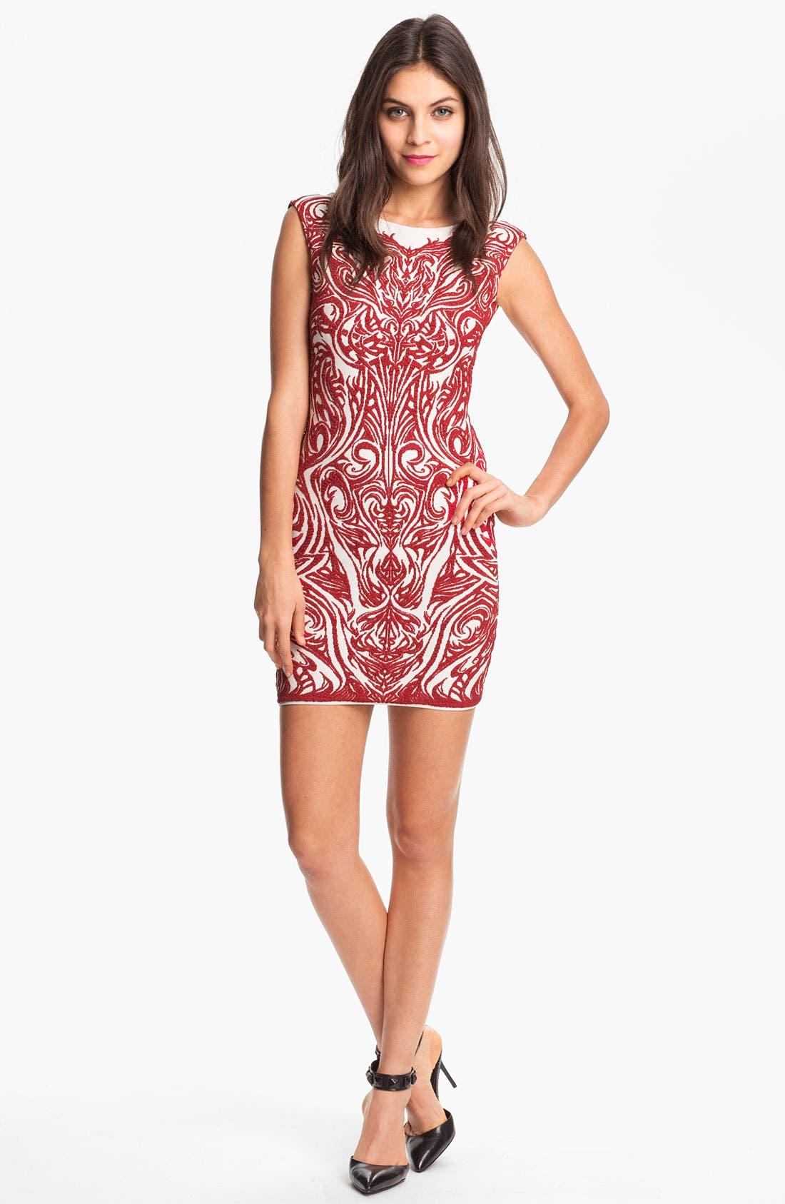 Main Image - RVN 'Phoenix' Embroidered Jacquard Minidress