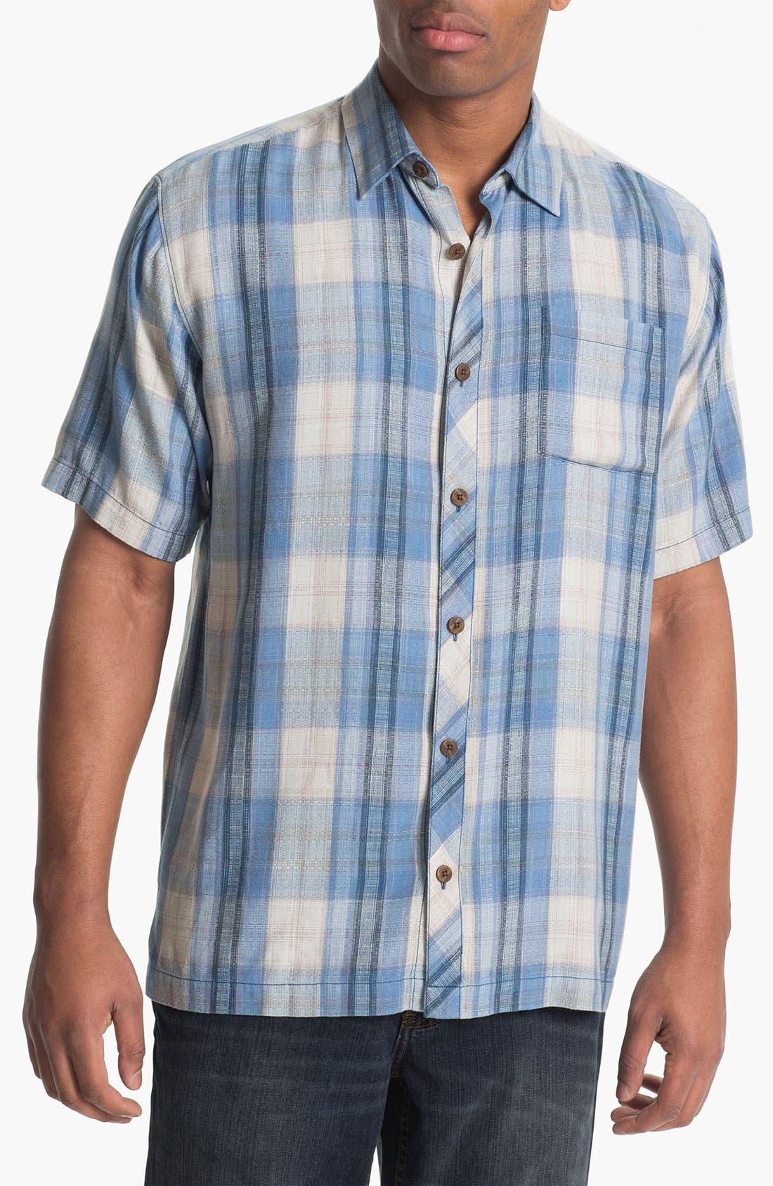 Alternate Image 1 Selected - Tommy Bahama 'Seaside Plaid' Silk Campshirt (Big & Tall)