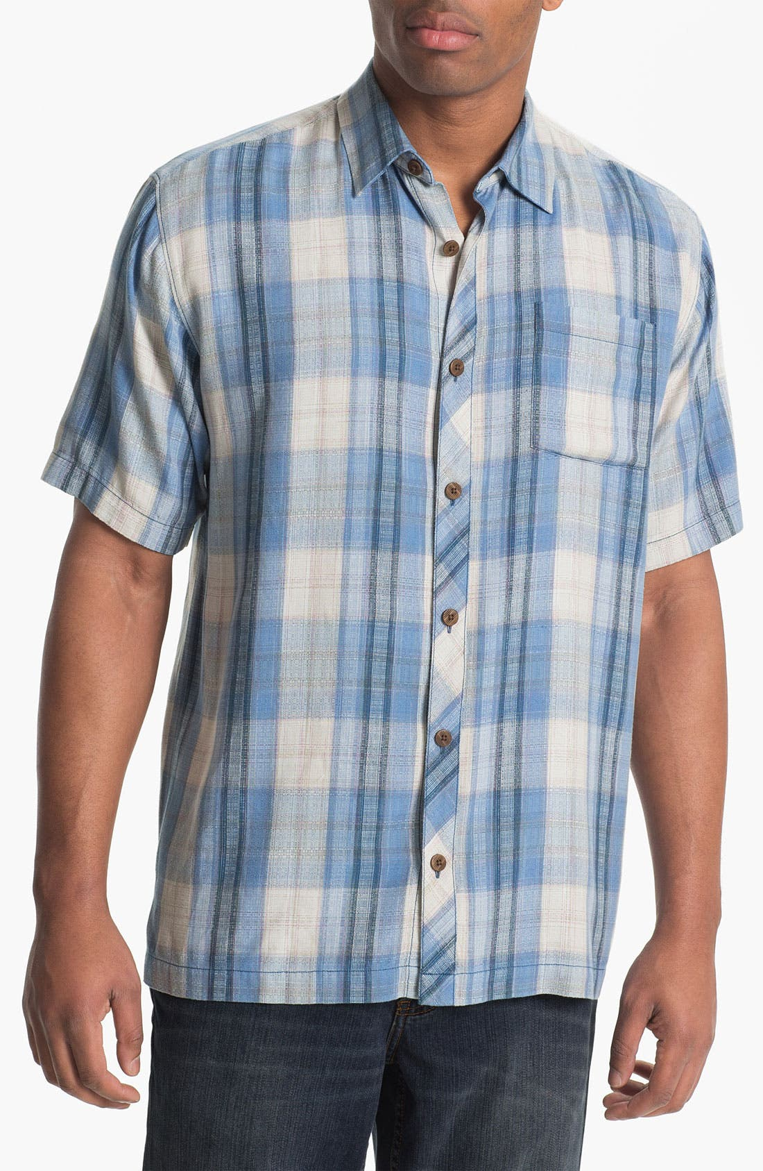 Main Image - Tommy Bahama 'Seaside Plaid' Silk Campshirt (Big & Tall)