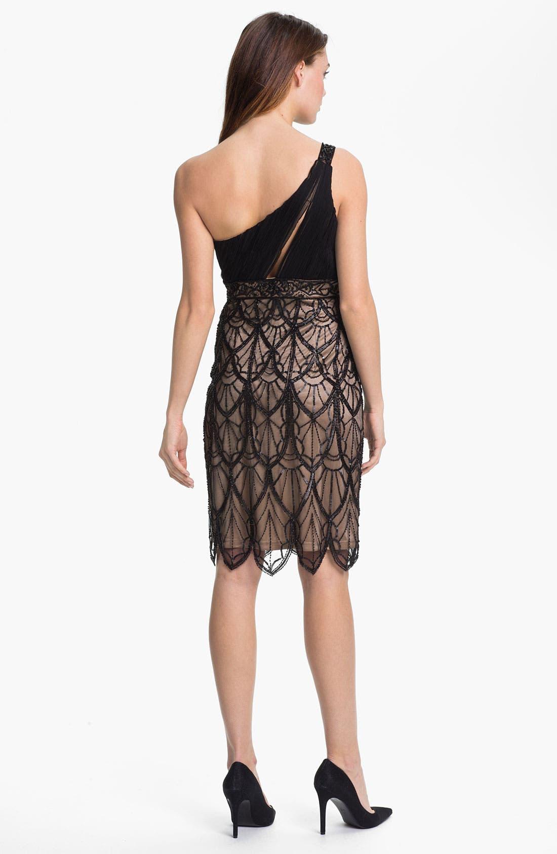 Alternate Image 2  - Sue Wong Embellished One Shoulder Mesh Dress